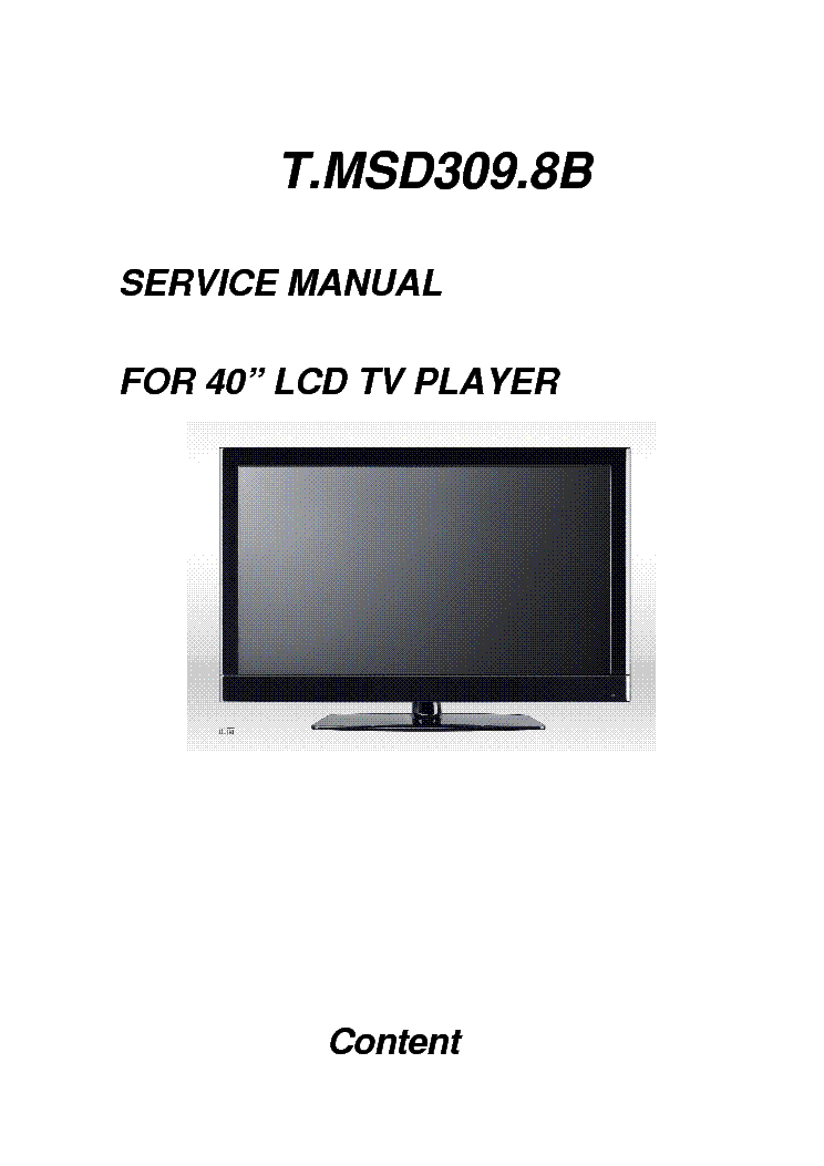 CONTENT T.MSD309.8B service manual (1st page)