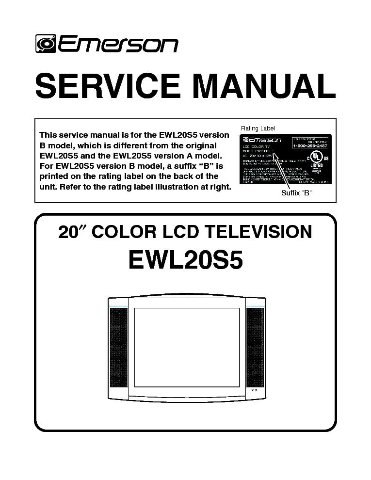 emerson ewl20s5b service manual download schematics eeprom repair rh elektrotanya com Emerson 32 Television Emerson 32 Television