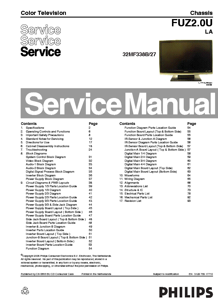 MAGNAVOX 32MF338B-27 CHIS FUZ2.OU-LA SM 1 Service Manual ... on