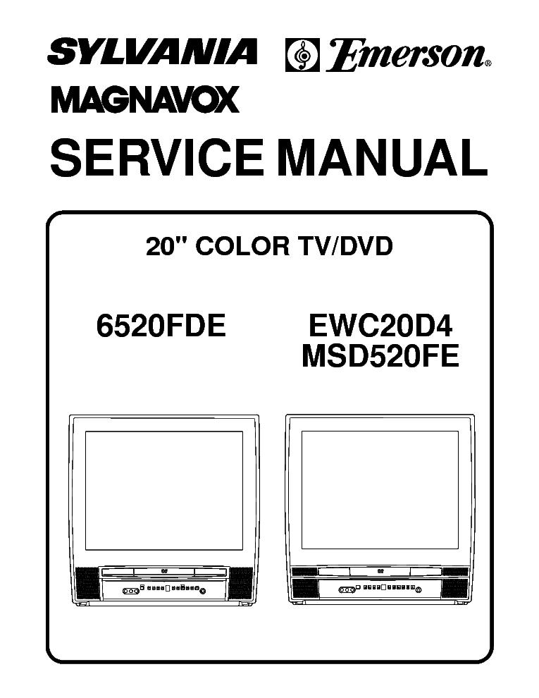 MAGNAVOX 6520FDE EWC20D4 MSD520FE COLOR TV-DVD Service Manual ... on