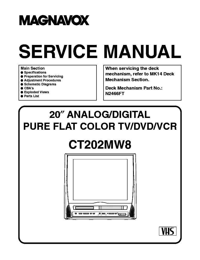MAGNAVOX CT202MW8 TV-VCR-DVD COMBO Service Manual download