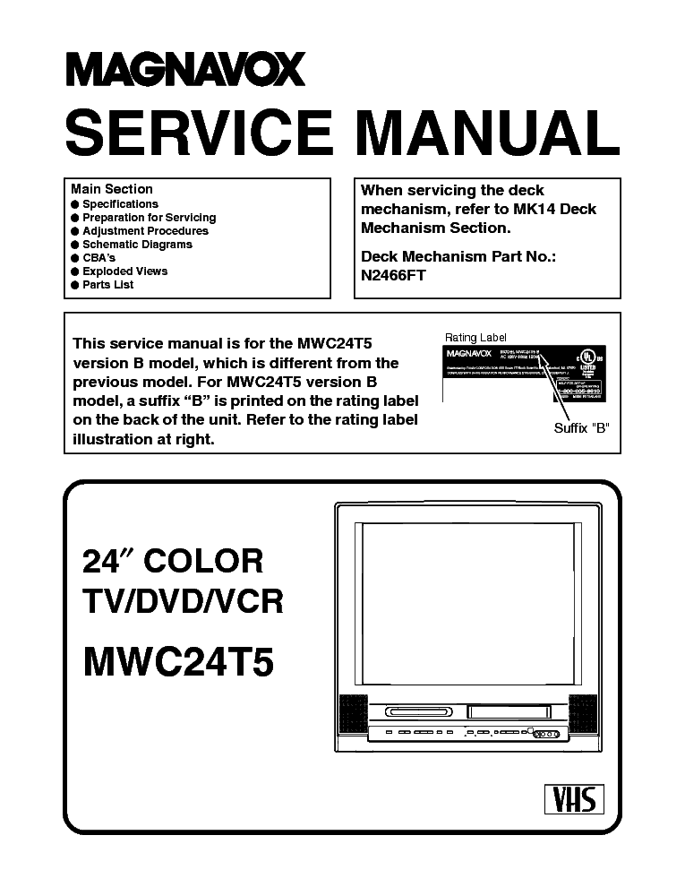 MAGNAVOX MWC24T5 TV-DVD-VCR SM Service Manual download ... on