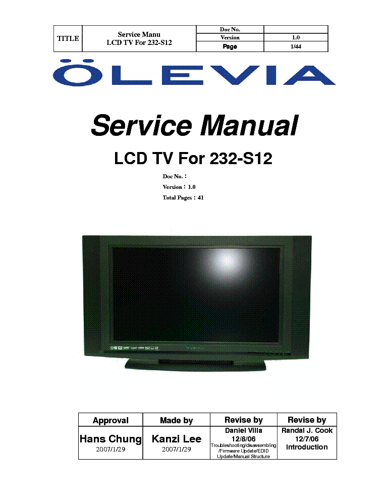 olevia 232 s12 sm rev1 service manual download schematics eeprom rh elektrotanya com