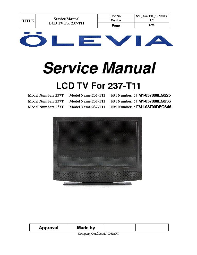 olevia 237t 237 t11 service manual download schematics eeprom rh elektrotanya com Older Olevia TV Manuals Olevia LCD HDTV