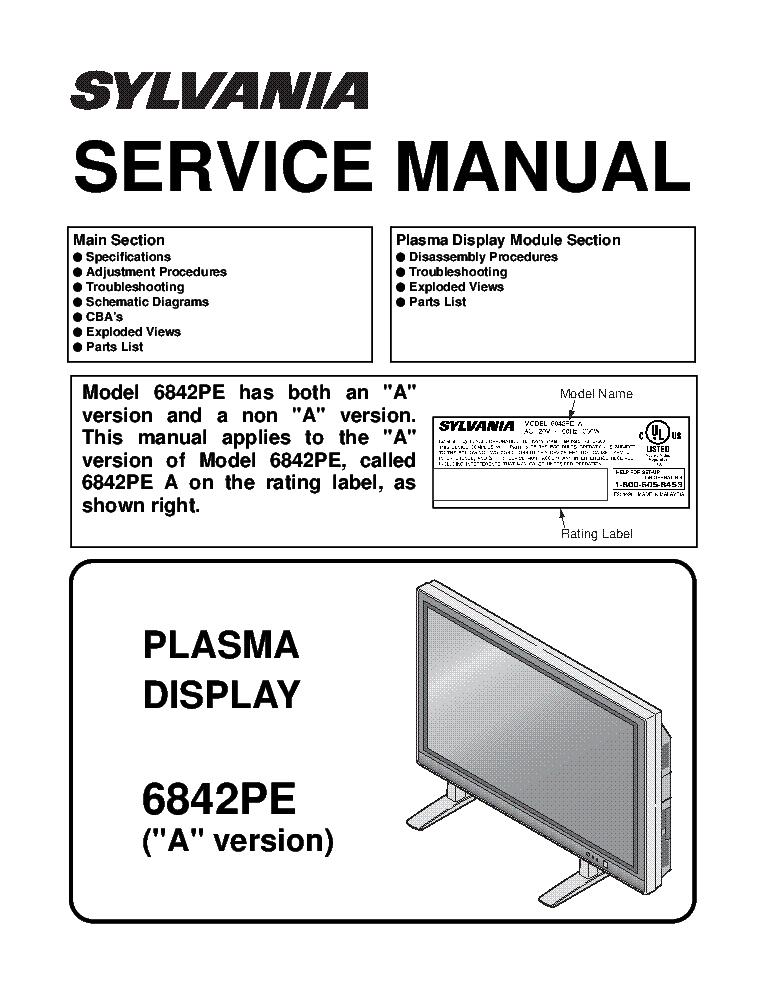 SYLVANIA 6842PE A-VERSION 040921 SM Service Manual download ... on zenith schematics, dayton schematics, samsung schematics,