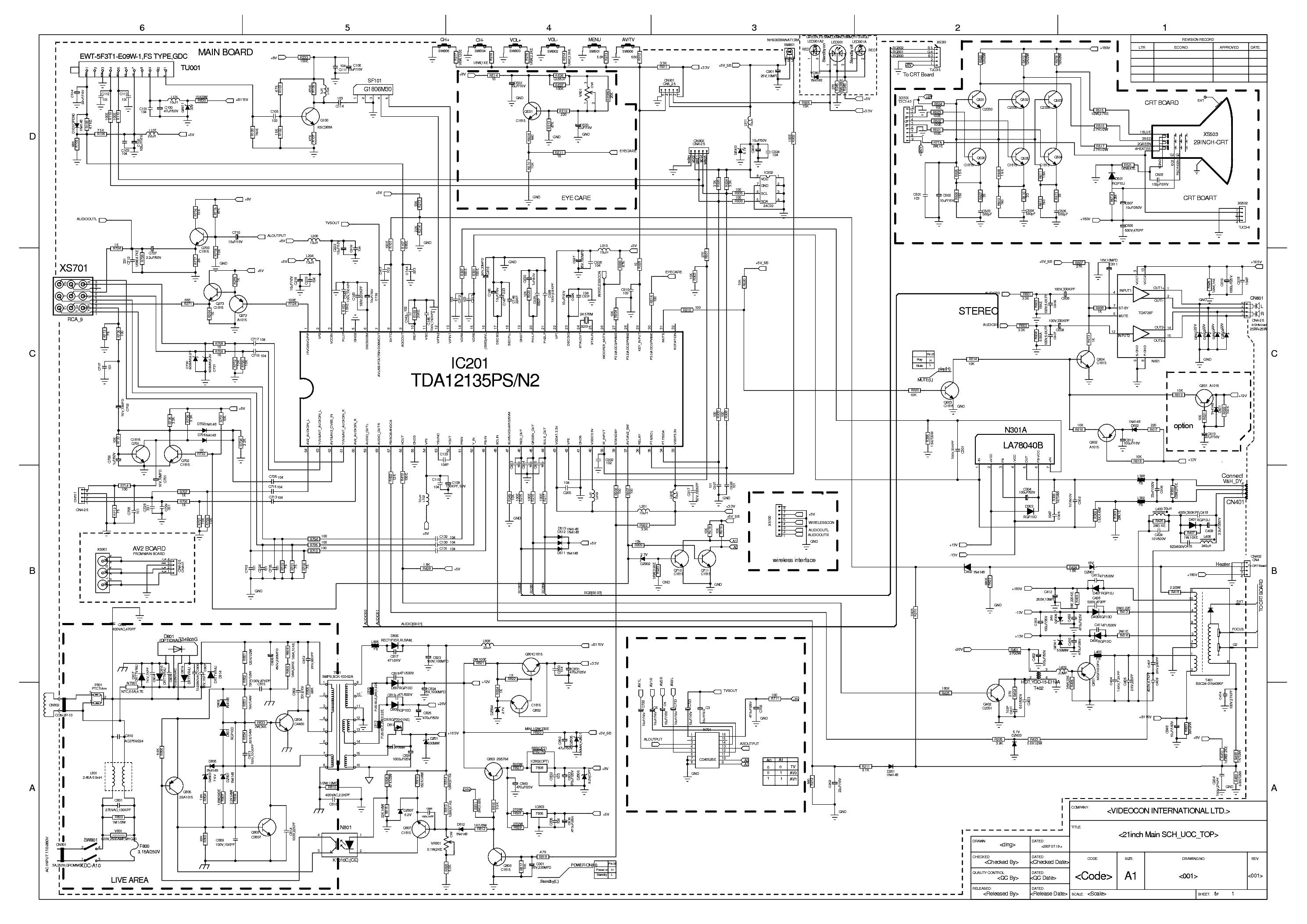 Videocon Colour Tv Circuit Diagram Schematic
