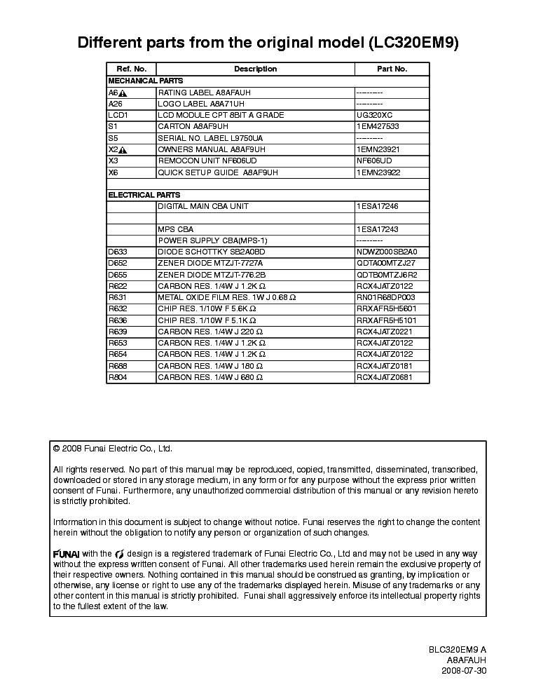 Emerson Blc320em9 A Sm Service Manual Download Schematics Eeprom Repair Info For Electronics Experts