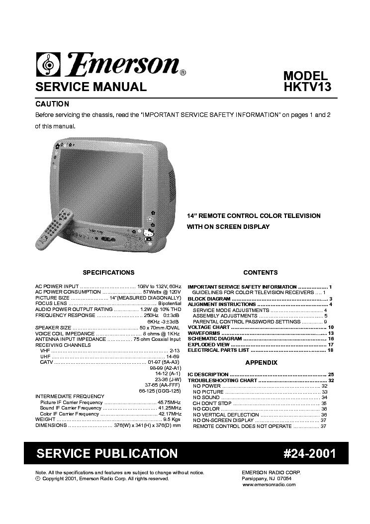 Emerson tv service manual