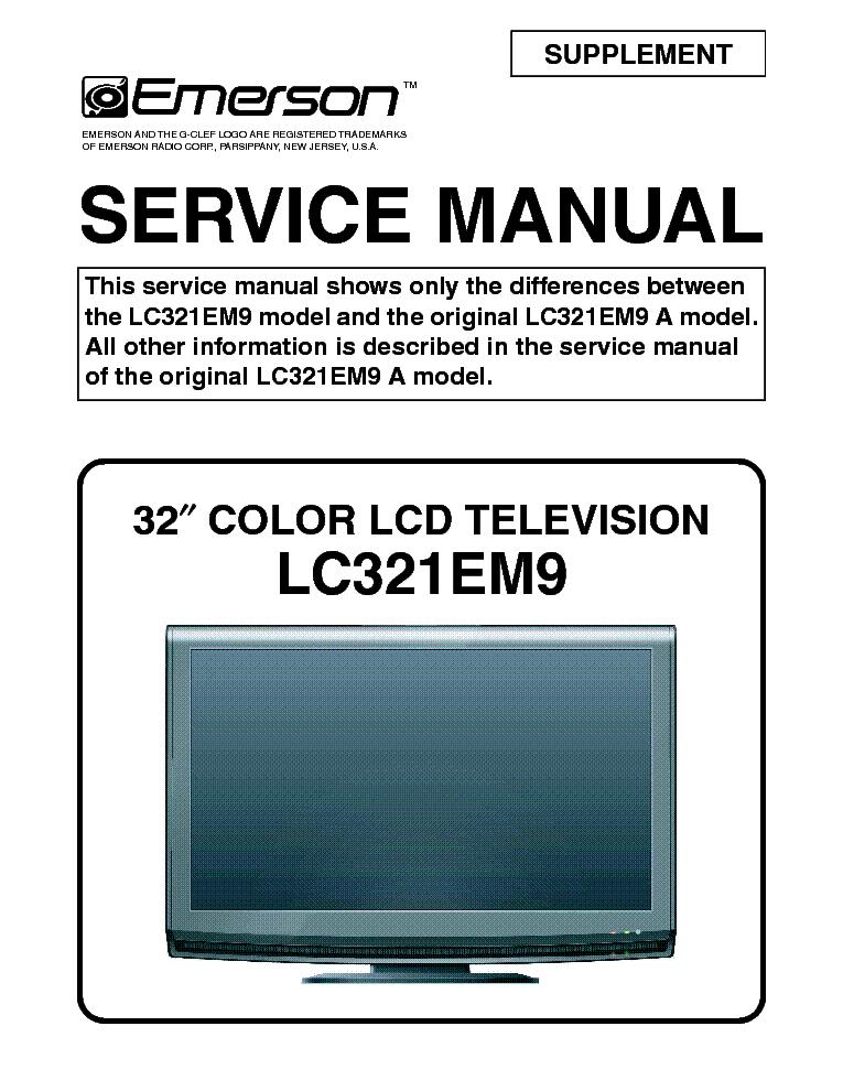 emerson lc321em9 supplement lcd tv sm service manual download rh elektrotanya com Emerson LC321EM9 Emerson 32 Television