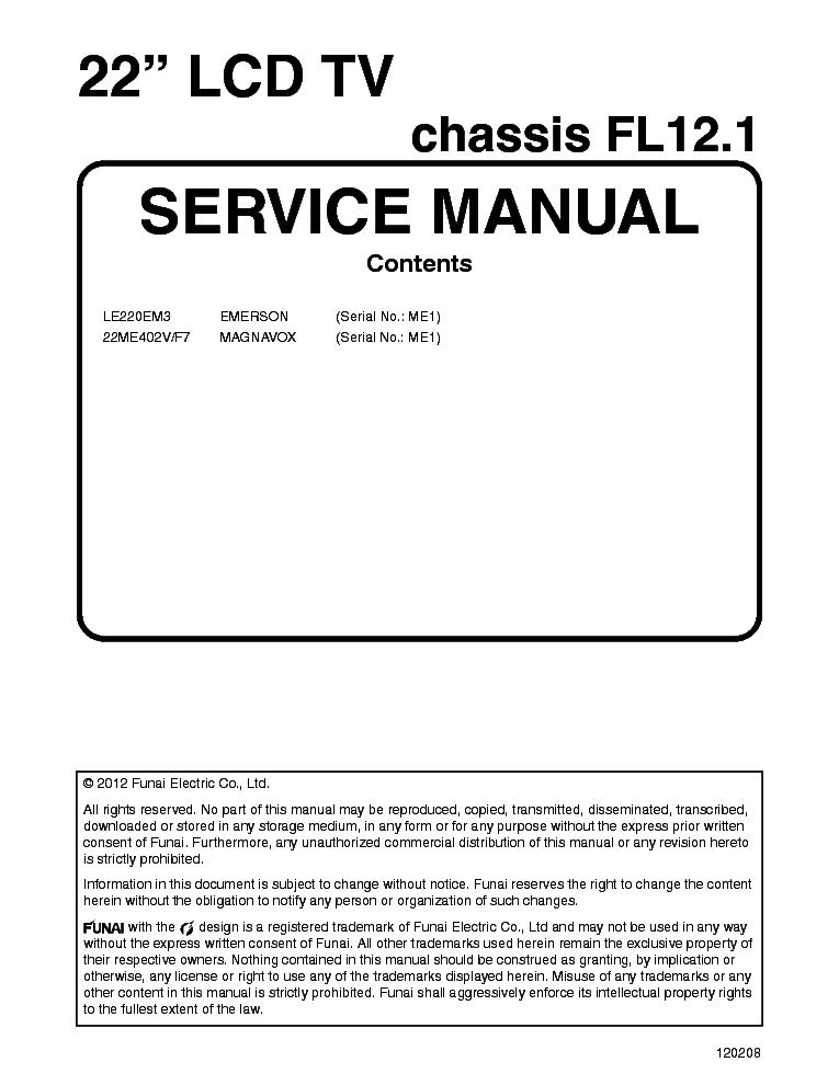 "emerson le220em3 magnavox 22me402v f7 me1 service manual download rh elektrotanya com Emerson LC320EM2 Back Emerson 32"" Class LCD 720P"