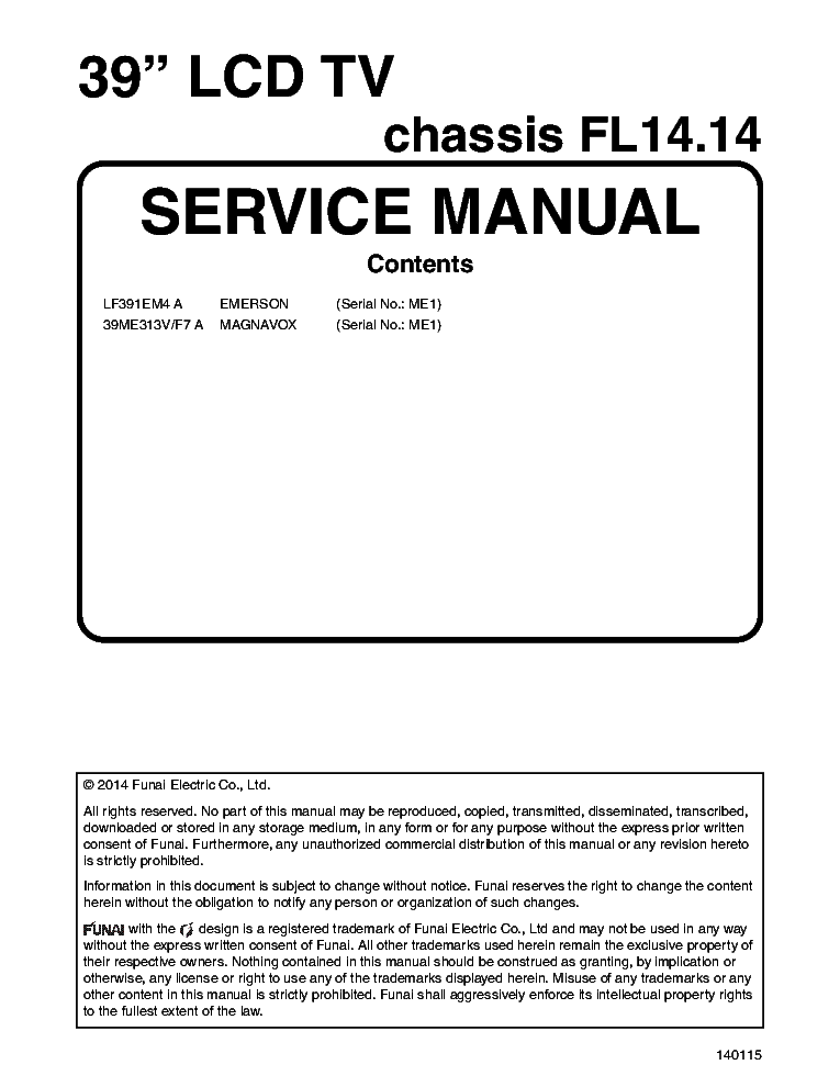 EMERSON LF391EM4 MAGNAVOX 39ME313VF7 CHASSIS FL14.14 service manual (1st page)