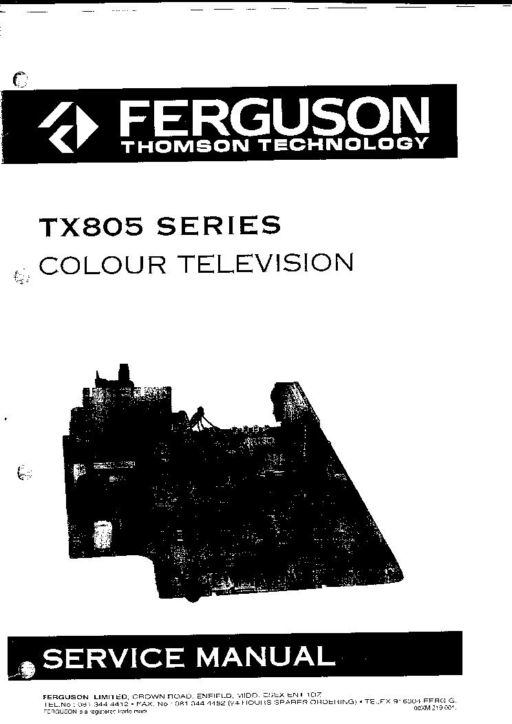 Схема телевизора Thomson TX 805 series.