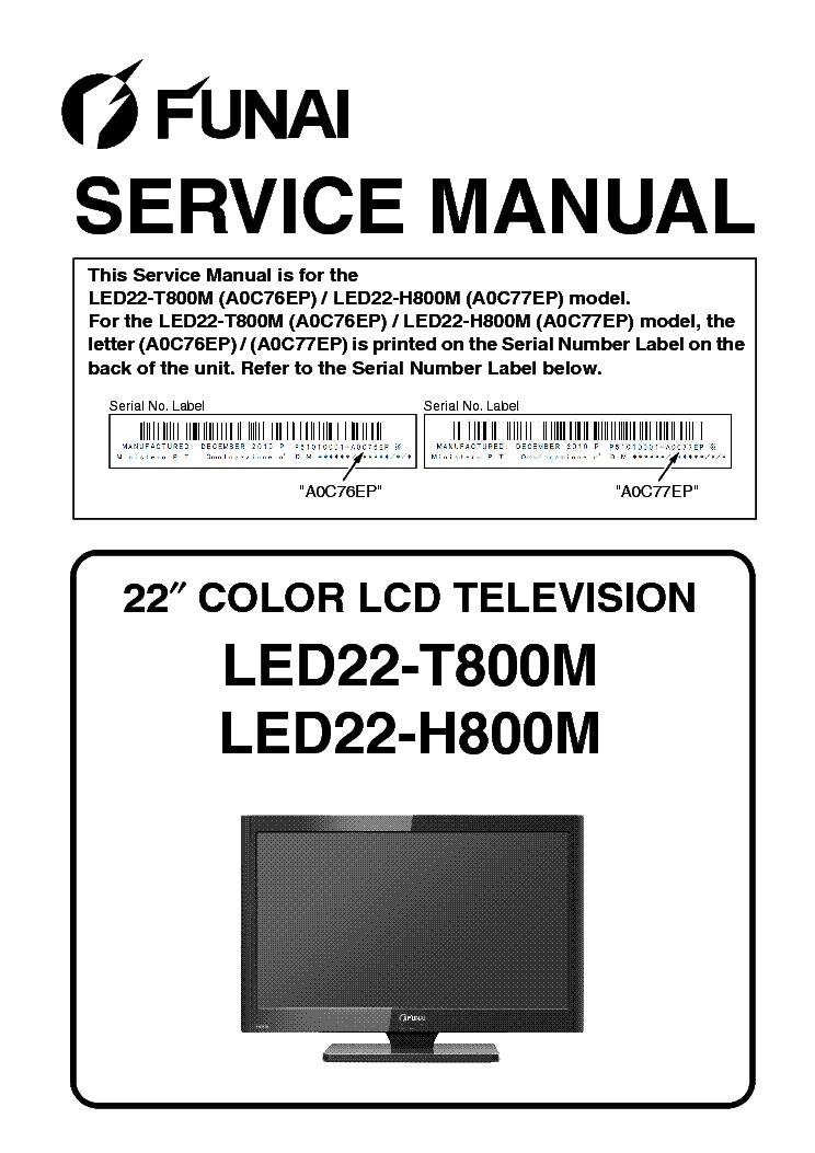 FUNAI LED22-T800M LED22-H800M A0C76EP A0C77EP Service Manual