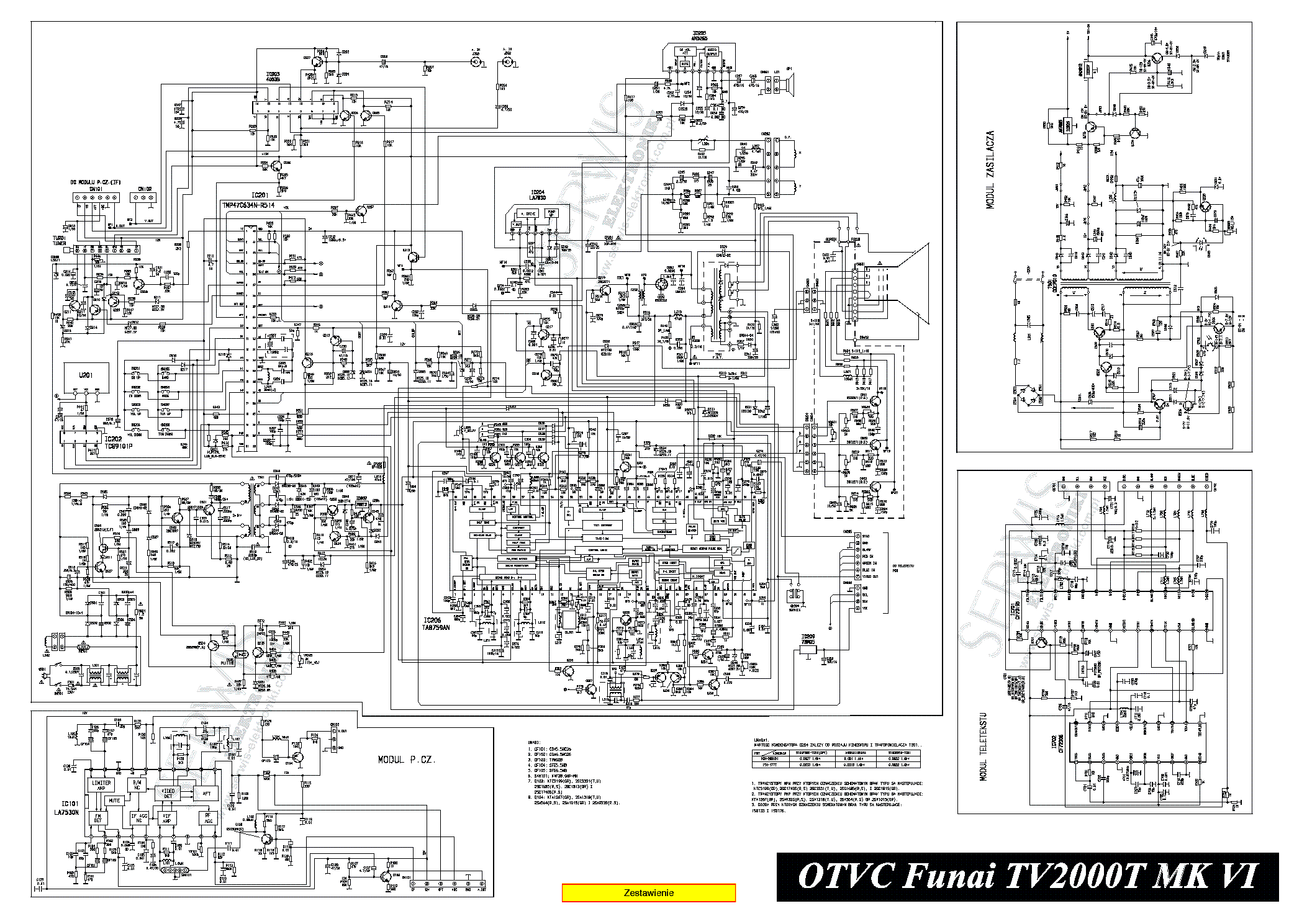 FUNAI TV-2100A MK10 Service Manual free download, schematics, eeprom, repair info for electronics