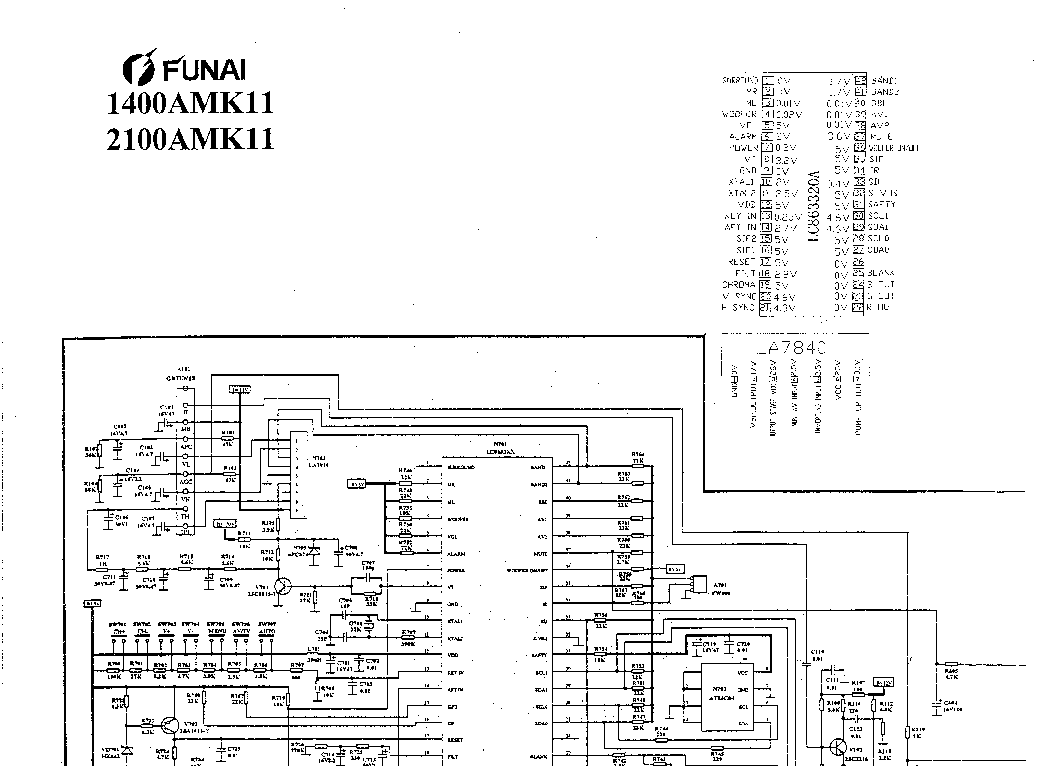 FUNAI TV-2100A-MK11 SCH Service Manual free download, schematics, eeprom, repair info for electronics