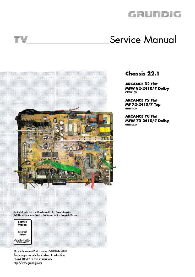 GRUNDIG CHASSIS BEKO 22 1 service manual