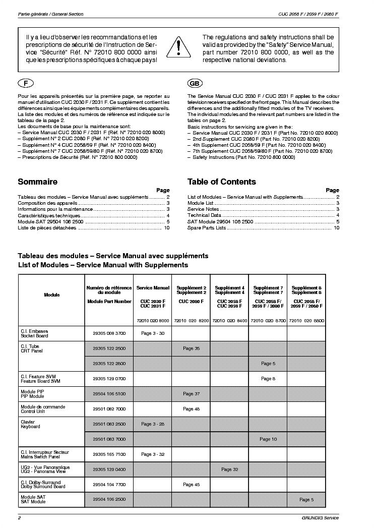 Grundig Cuc2058f 2059f 2080f Sm Service Manual Download  Schematics  Eeprom  Repair Info For