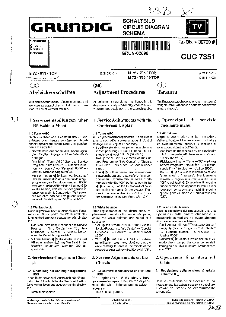 GRUNDIG CUC7851 SCH service manual (1st page)