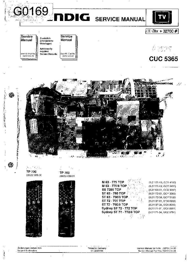 GRUNDIG M63-775 SE-7286 ST63-760 ST72-760 SYDNEY CHASSIS CUC5365