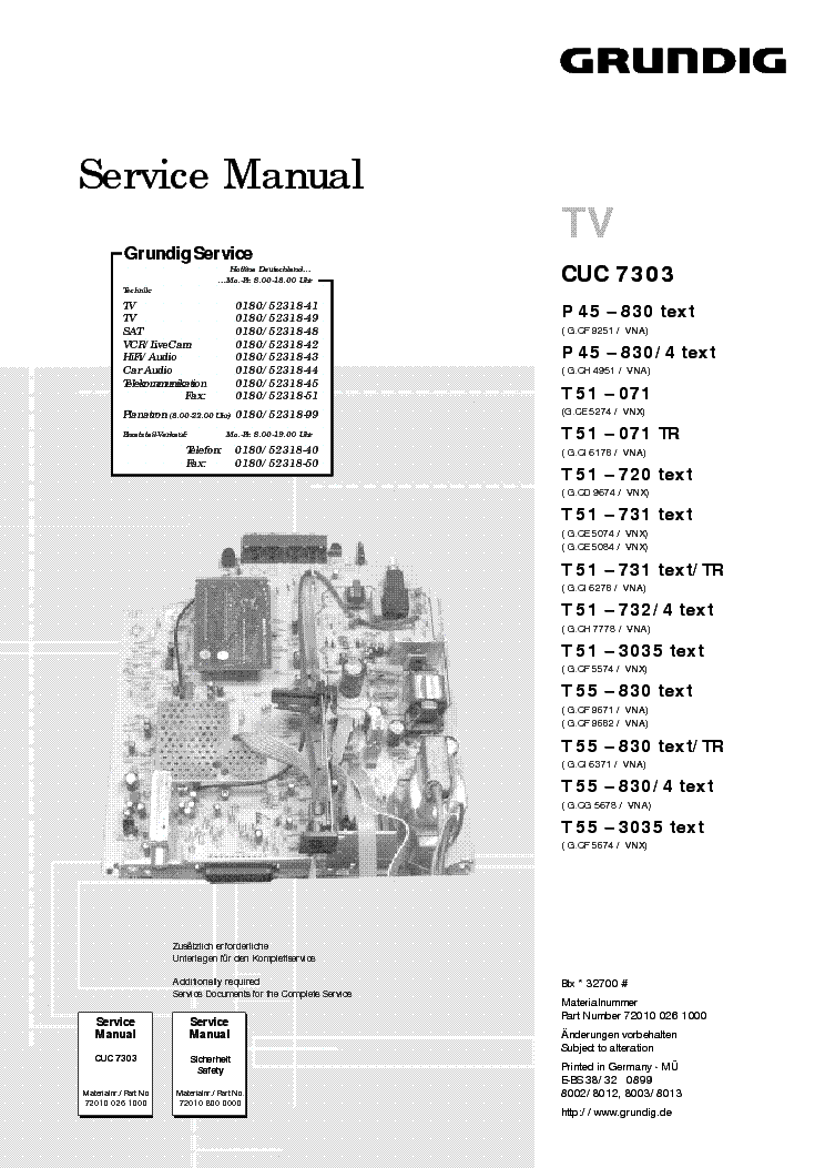 Grundig T55 Chassis Cuc7303 Service Manual Download