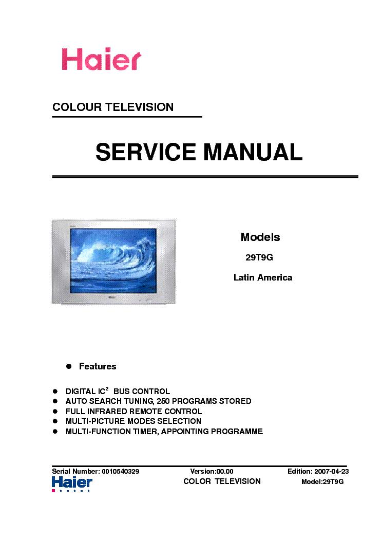 haier 29t9g htar29 crt tv service manual download schematics rh elektrotanya com TV Manual Packet Samsung Rear Projection TV Manual