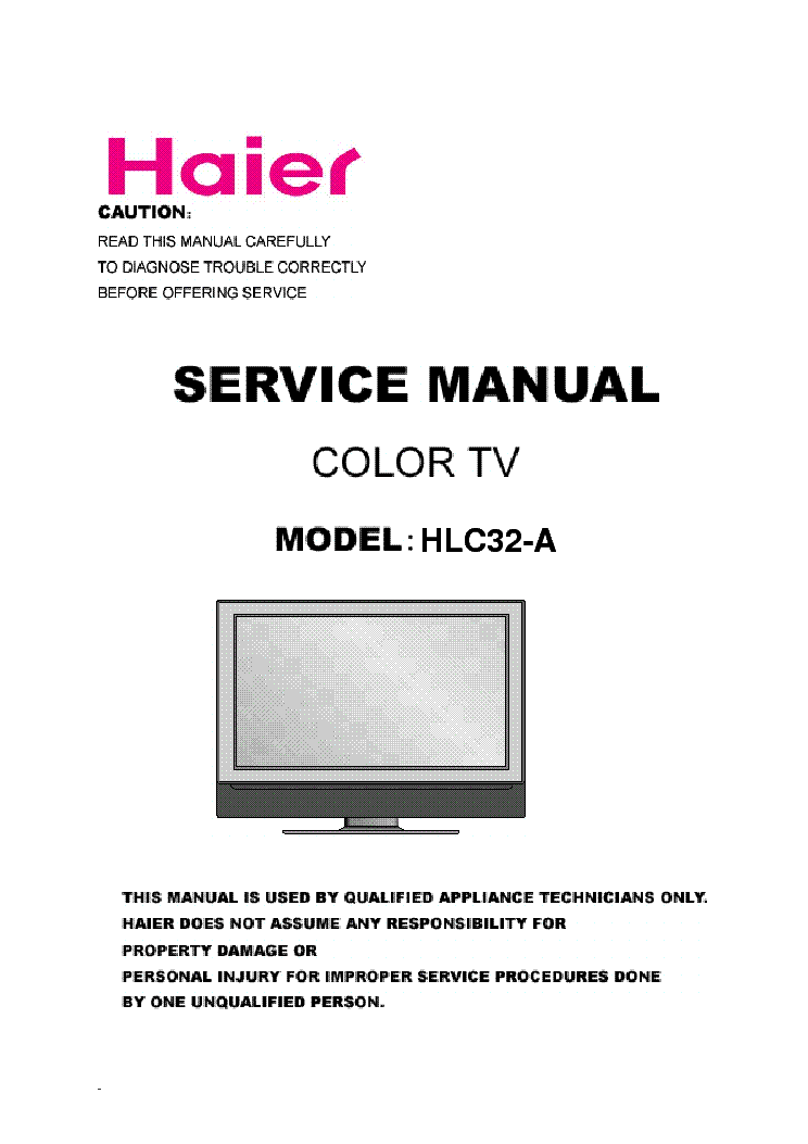 HAIER HLC32A LCD TV-DVD SM Service Manual download, schematics ...