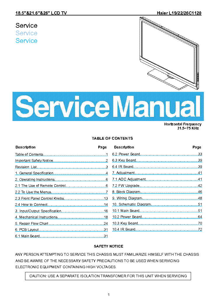 haier 39d3005 chassis msd3393lu service manual haier