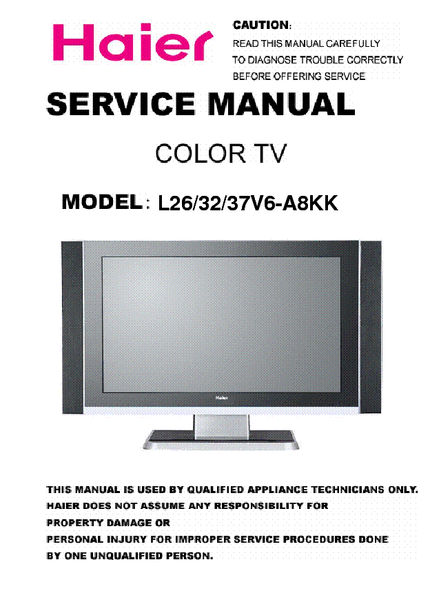 Haier tv Manual download