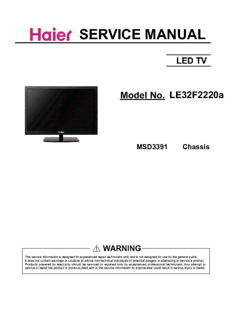 HAIER LE32F2220A CHIS MSD3391 LED TV Service Manual download ...