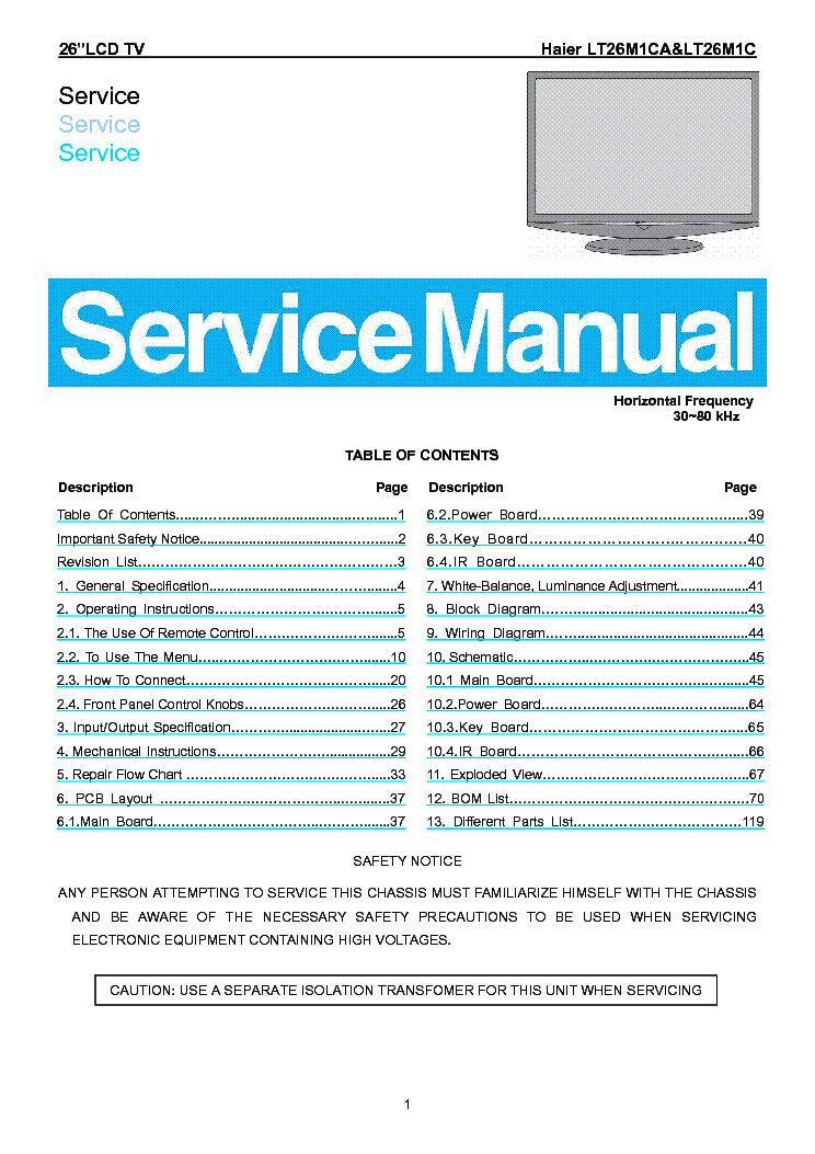 Haier Lt26m1ca Lcd Tv Sm Service Manual Download