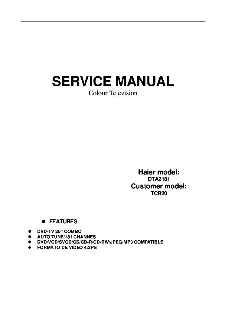 HAIER TCR20 service manual (1st page)