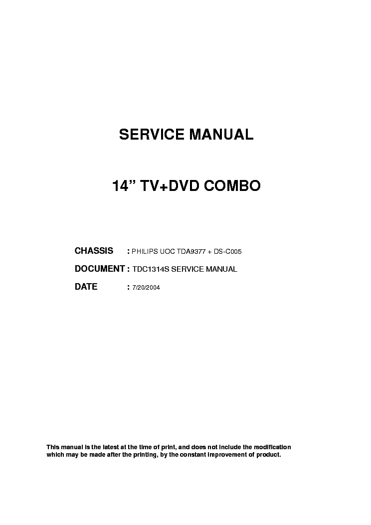 HAIER TDC1314S - TDA9370 , KA5Q0765RT , AN7522N , TDA8357J - SCH service manual (1st page)