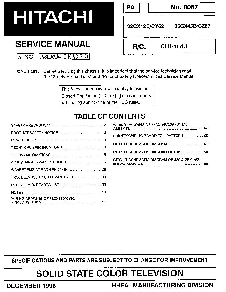 hitachi 51swx20b 57swx20b 65swx20b 57twx20b 65twx20b service manual rh elektrotanya com Honeywell Pressuretrol Manual Sony STR De475 Manual