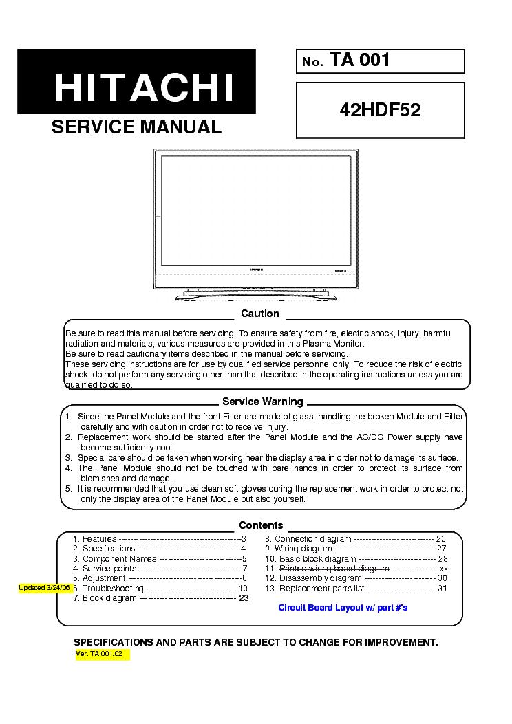 hitachi 42hdf52 service manual download schematics eeprom repair rh elektrotanya com Hitachi Ultravision Owner's Manual Hitachi Plasma TV Problems