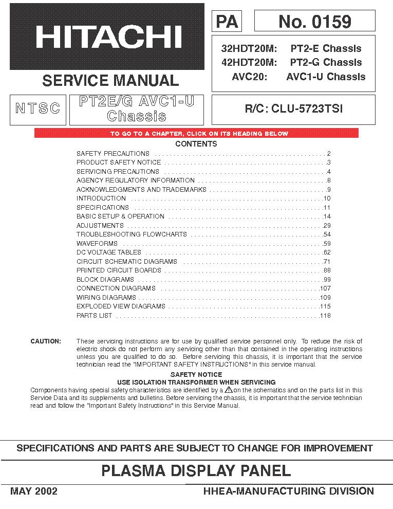 hitachi 42hdt20 plasma tv sm service manual download schematics rh elektrotanya com Hitachi Excavators Hitachi 57F500 Manual Service