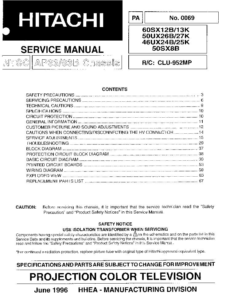 hitachi 46ux24b 46ux25k 50ux26b 50ux27k 50sx8b 60sx12b 60sx13k rh elektrotanya com Manual for Web Card AT&T LG A340 Manual