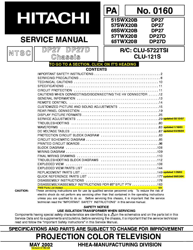 hitachi 51swx20b 57swx20b 65swx20b 57twx20b 65twx20b service manual rh elektrotanya com Hitachi Excavator Repair Manual AT&T LG A340 Manual