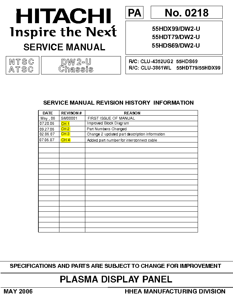 hitachi 55hds69 55hdt79 55hdx99 chassis dw2 u sm service manual rh elektrotanya com Hitachi Manuals Television Hitachi TV Repair Manual