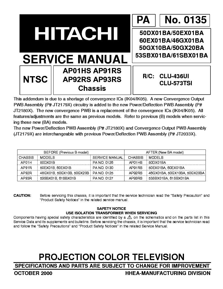 hitachi 55hds69 55hdt79 55hdx99 chassis dw2 u sm service manual rh elektrotanya com Hitachi TV Repair Manual Hitachi 51UWX20B Owner's Manual
