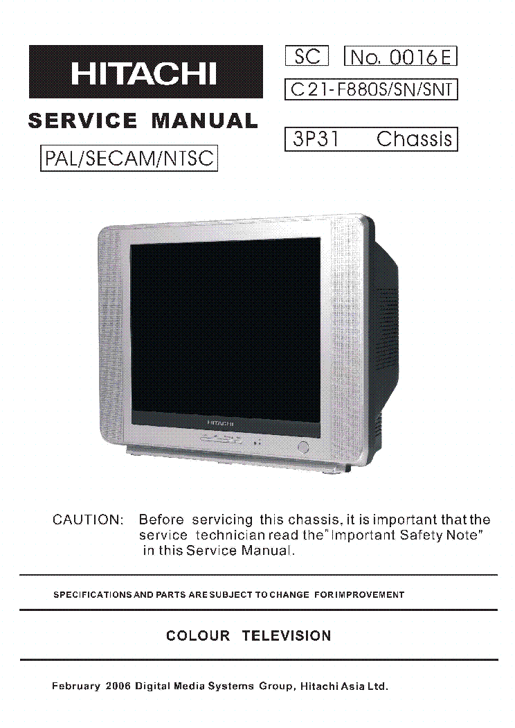 HITACHI C21F880S service manual