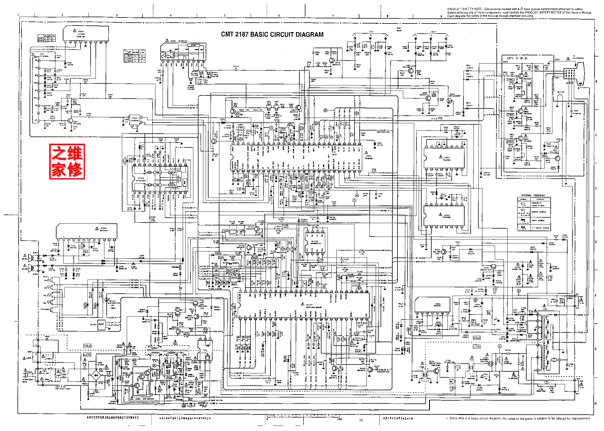 hitachi cmt2187-basic-circuit-diagram-1 service manual (1st page)