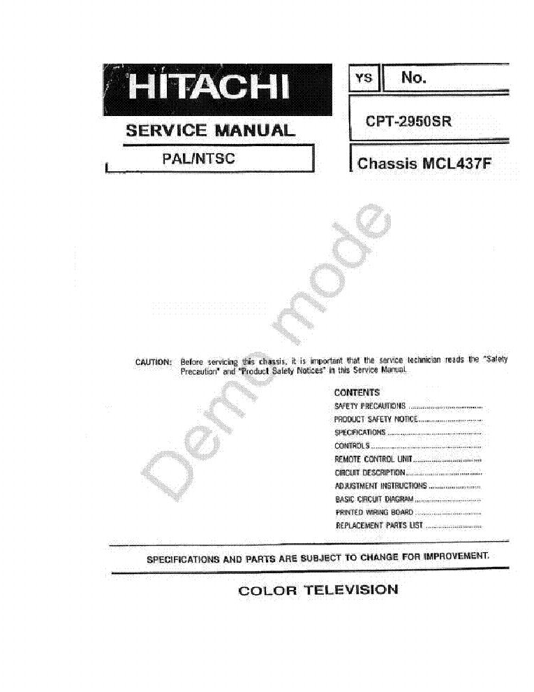 Hitachi cmt2077 мануал