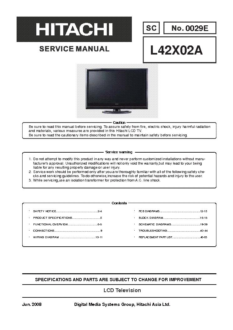 service manual hitachi 42v515 lcd rear projection color tv
