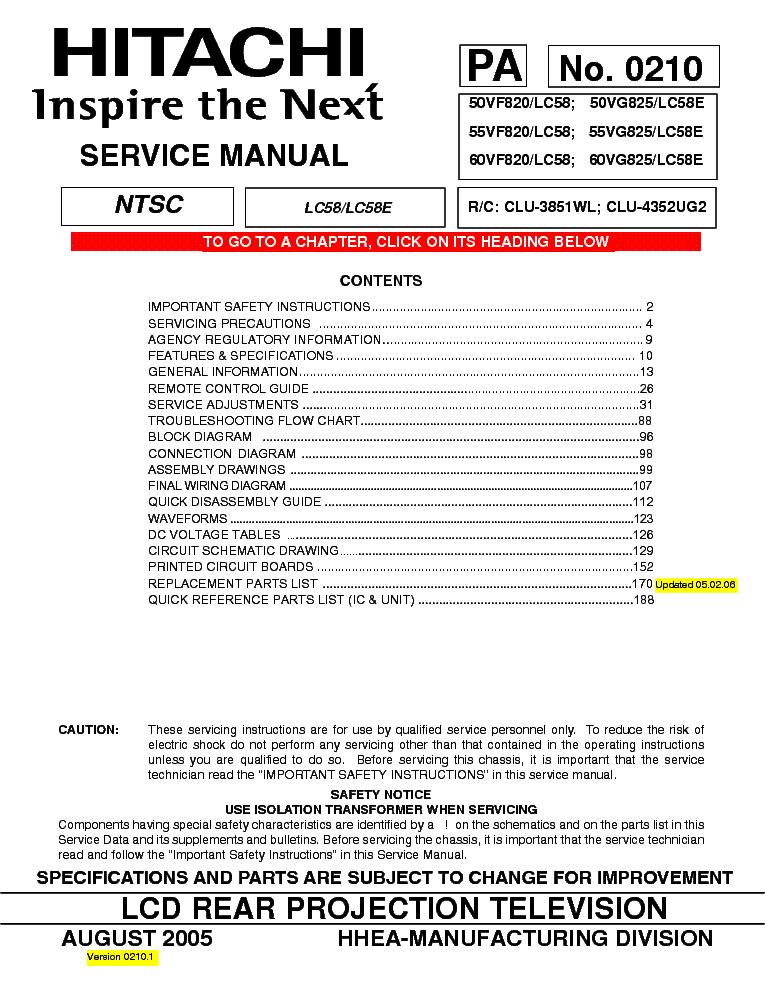 hitachi lc58 chassis 50vf820 lcd projection service manual download rh elektrotanya com Hitachi 51UWX20B Owner's Manual Hitachi TV Repair Manual