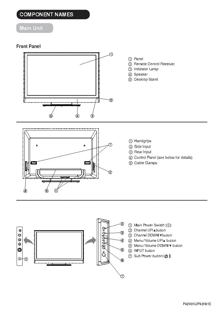 HITACHI P42HO1 Service Manual download, schematics, eeprom, repair on