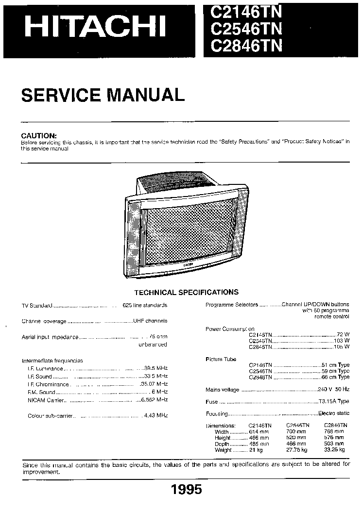 Hitachi Television Service Manuals