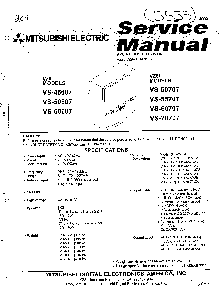 MITSUBISHI CHASSIS VZ8X VS-45607 50607 50707 55707 60607 60707 70707 service manual (1st page)