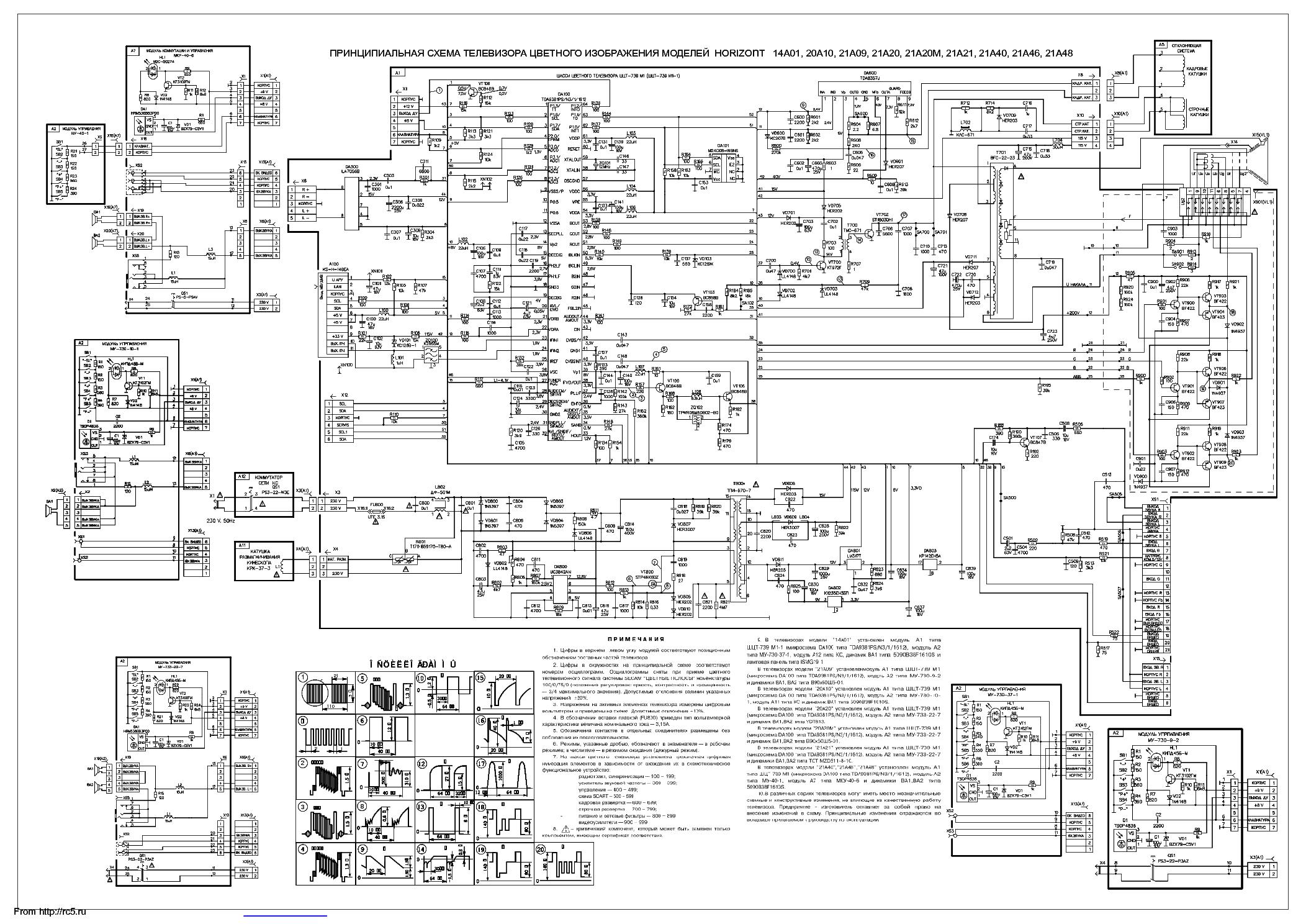 схема телевизора горизонт 21kf19v