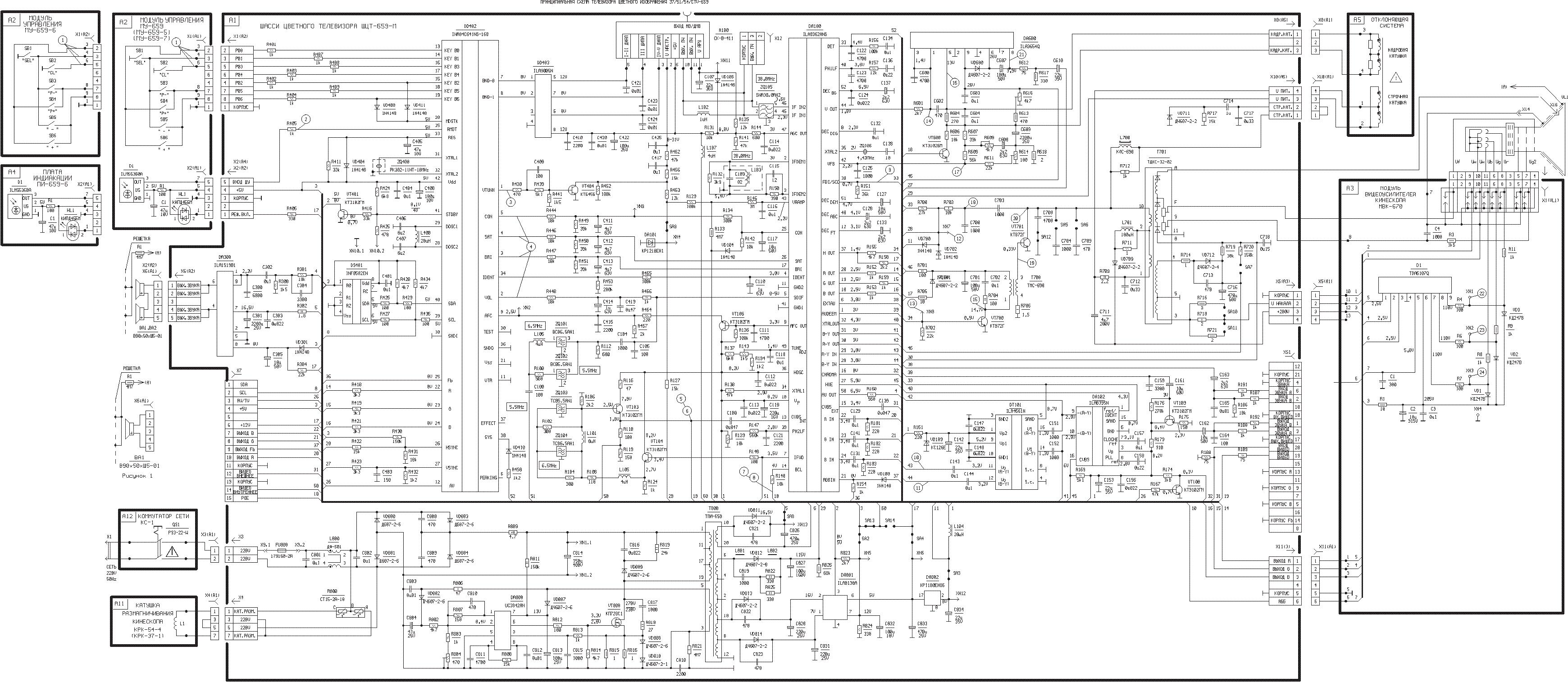 Телевизор горизонт 15af03 схема