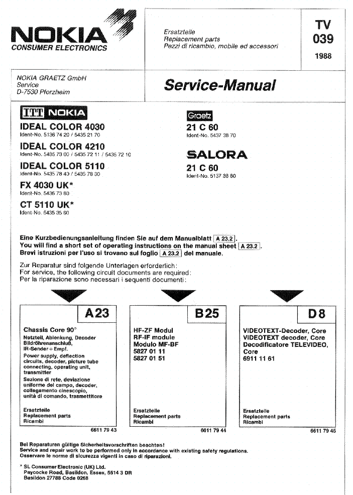 ITT NOKIA IDEAL COLOR 4030 4210 5110 FX-4030 CT-5110 21C60 CHASSIS CORE 90 service manual
